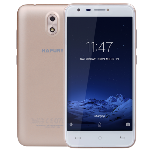 SmartPhone - Telefon Mobil Hafury MIX, 5 HD IPS, 2+16GB, 13 MPx, Android 7.0, Auriu (include Husa si Folie)
